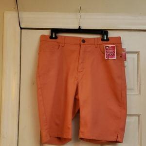 Lee Instantly Slims You Orange Brrmuda Shorts SZ 1